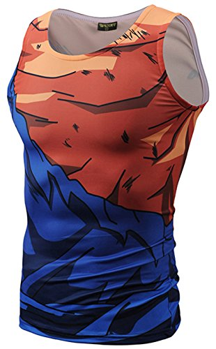 PIZOFF Mens Sleveless Quickly Dry 3D Cartoon Print Work Out Compression Tank Top Y1783-10-XXL