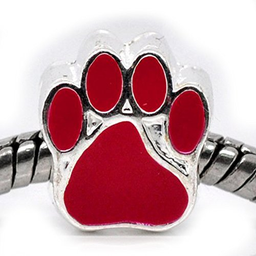 Paw Print Enamel (Red Enamel Large Hole Paw Print Bead For Snake Chain Charm Bracelet )