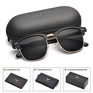 LUENX Men Clubmaster Polarized Sunglasses Women UV 400 Protection Black Lens Black Glossy Retro Classic Frame 51MM,with Case