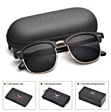 LUENX Men Clubmaster Polarized Sunglasses Women UV 400 Protection Black Lens Black Glossy Frame 51MM ,by LUENX with Case