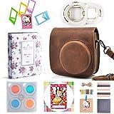 Hellohelio 7-in-1 Accessories Bundle Set for Instax Mini 8 8+ Instant Film Camera - Brown