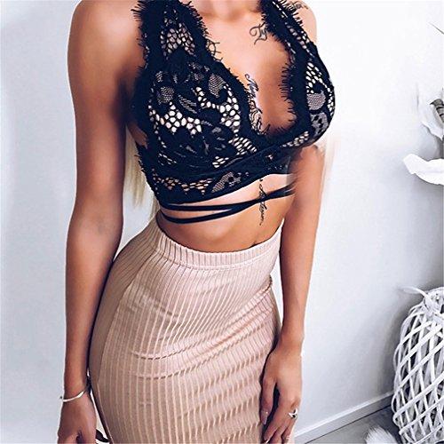 ULAKY Womens Bandage Lace Bralet Bra Bustier Crop Top Cami Unpadded Tank,black