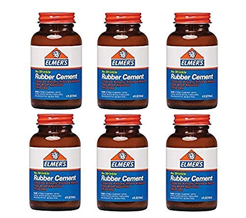 Elmer's No-Wrinkle Rubber Cement, Clear, Brush Applicator 4 oz ( Pack of 6)