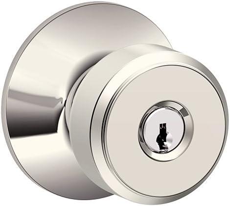 Schlage F51A BWE 618 Bowery Knob Keyed Entry Lock, Polished Nickel