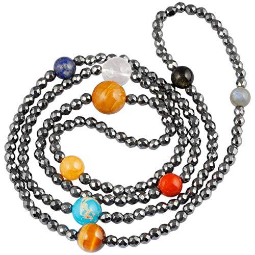 Awesome Photo Necklace - TUMBEELLUWA Beaded Bracelet Healing Crystal Necklace Solar System Universe 9 Planets Stone Jewelry Unisex,Solar System Bracelet Necklace
