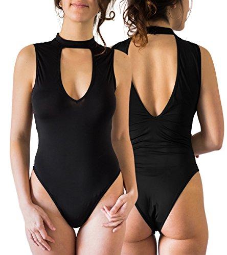 Black Bodysuit Costume Party City (Blue 55 Women's Sexy Backless Black Bodysuit Sleeveless Halter Mock Neck Choker (Keyhole Choker, Large))
