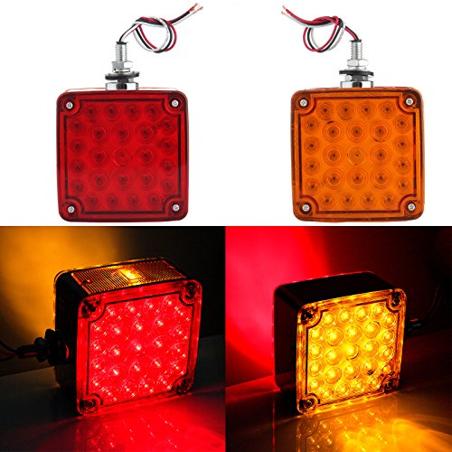 CCIYU Side Marker Light Pack of 2 Amber/Red Double Face Stud Mount Cab Fender Marker Light Stop Turn Signal Light Tail 52 LED Light (Amber +Red) (Red + Amber)