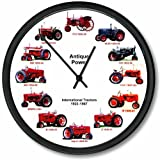 """New International Farmall Vintage Red Tractor Wheel Dial Clock - 12 Tractors Cub from 1923 - 1967 10"""" Round Clock"""