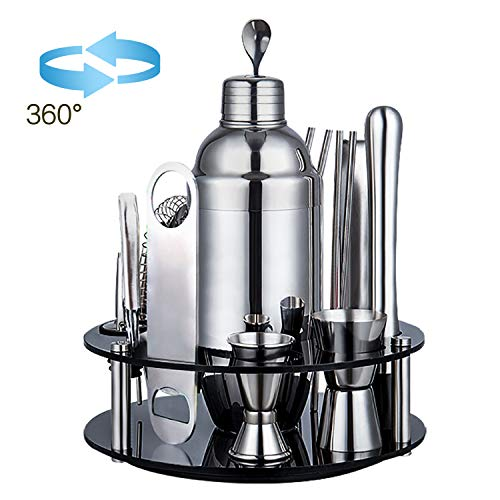 Mertonzo Bar Set,18-Piece Stainless Steel Cocktail Shaker Bar Tools,with Rotating Display Stand and Recipes Booklet,Premium Bartending Kit for Home,Bars,Traveling and Outdoor Parties