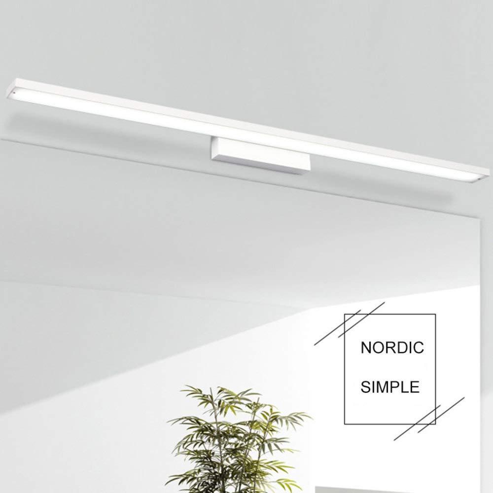 NHX Spiegellampen Spiegelscheinwerfer Wasserdicht Und Feuchtigkeitsfest Bad Kreative Moderne Minimalistische Aluminium Spiegel Lampe,Weiß-60cm-PositiveWeißlight
