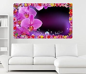 3d Wandtattoo Orchidee Blume Lila Rosa Wasser Blumen Rahmen Wandbild