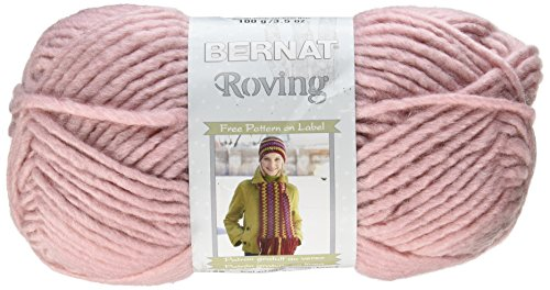 Bernat Roving Yarn, 3.5 Ounce, Quartz Pink, Single Ball - Bernat Pink Knitting Yarn