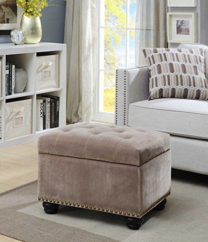 Convenience Concepts 163010FVT Designs4Comfort 5th Avenue Storage Ottoman, Velvet Taupe