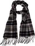 SilverHooks Soft & Warm Plaid Cashmere Scarf w/Gift Box (Black & Grey)