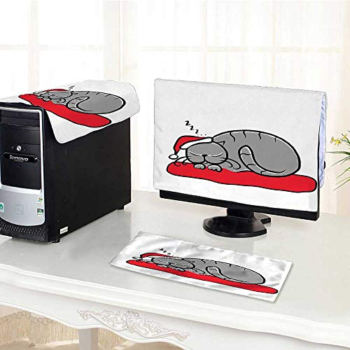 (Jiahonghome Computer dustproof Three-Piece Sleeping Cat with Santa Hat and Whiskers on Pillow Winter Night for LED LCD Screens Flat Panel HD Display /26
