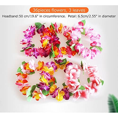 BigLion Fleur Hawaï Bandeau Leis Ruffled Hawaïen Tropical Tête Guirlandes Fleur Coloré pour la Robe Luau Beach Thèmes Parti de Plage 20 pcs