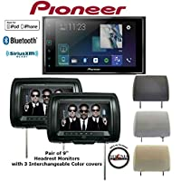 Pioneer MVH-1400NEX 6.2 Digital Multimedia Video Receiver w/ Apple CarPlay (Does NOT Play CDs) w/ TWO CLS-903M Concept 9 Headrest Monitors & SOTS Air Freshener