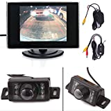 "HDE 2.4G Wireless E350 High-Definition 135° Night Vision CMOS Backup Reverse License Plate Camera + 3.5"" On-Dash Color Monitor"