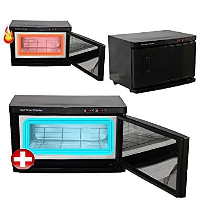 Black High Capacity Hot Towel Cabinet & UV Sterilizer Warmer Salon spa Equipment