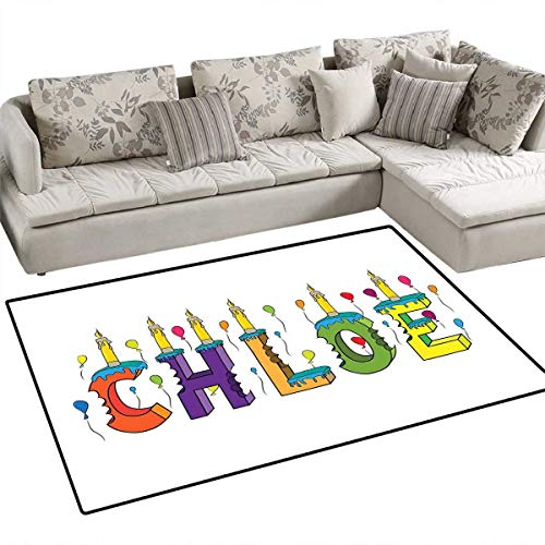 """Price comparison product image Chloe Anti-Static Area Rugs Lettering with Cheerful Bitten Cake Candles Girly Birthday Party Design First Name Children Kids Nursery Rugs Floor Carpet 36""""x48"""" Multicolor"""