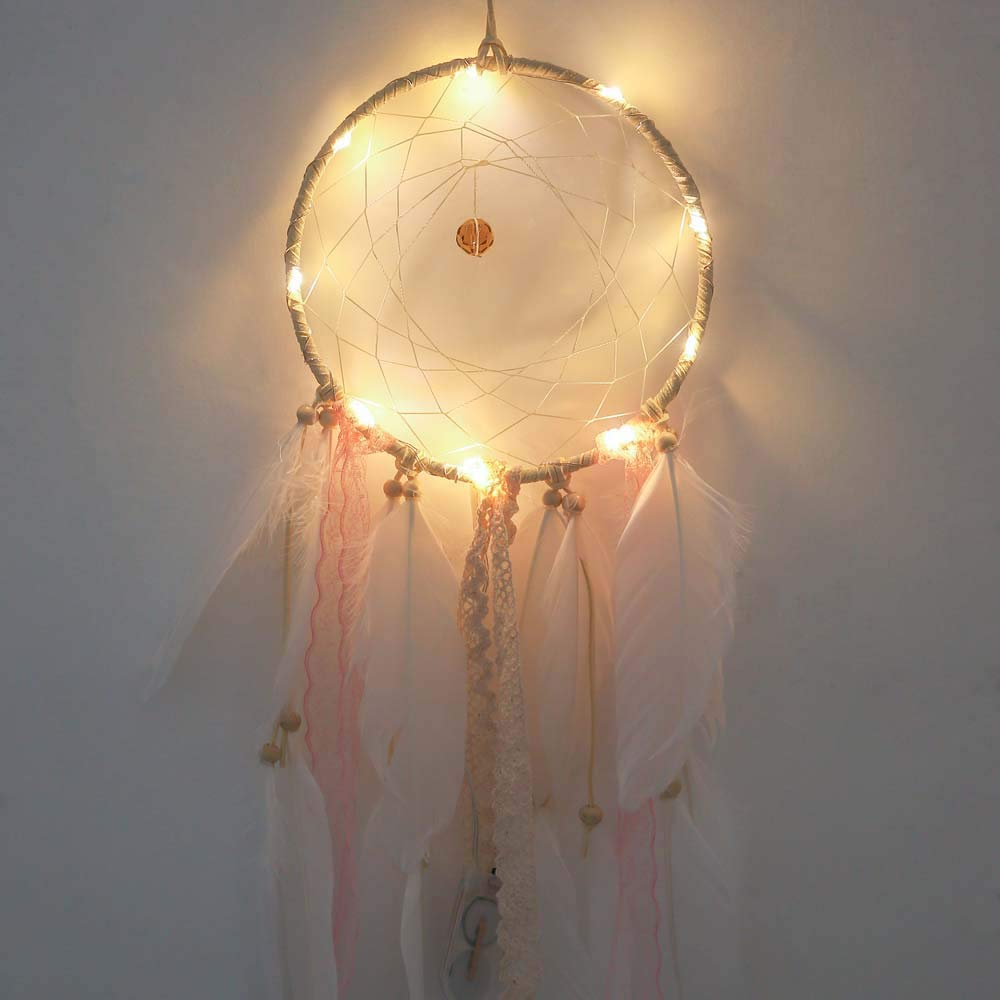 Dream Catcher Hand Made Gift, Feather Dreamcatcher 1 Meter 10LED Lighting Girl Room Bell Bedroom Romantic Hanging Decoration, Girls Hanging Dreamcatcher Creative Gift Present Accessories (A) YUYOUG