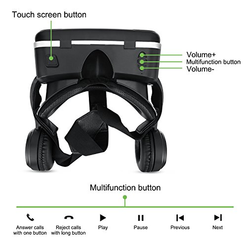 3D VR Glasses, HAMSWAN 3D VR Goggles VR Headset Virtual Reality Goggles Headset Glasses with Built-in Headset, Unique Design and Multifunction Button Compatible with Smartphones within 4.0-6.0 inch by HAMSWAN (Image #2)