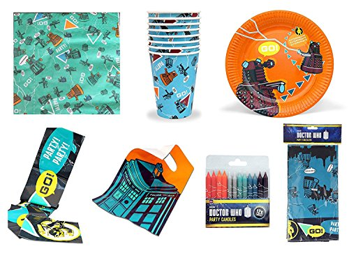 Official BBC DOCTOR WHO - Complete Part Set - Paper Cups, Plates, Napkins, Tablecloth, Party Banner, Loot Bags & Candles -