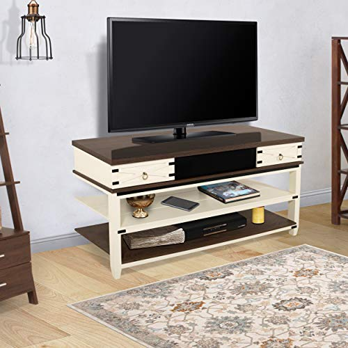 Living Essentials Harrison Media Station TV Stands with Inserted Bluetooth Sound Bar, Two Storage Drawers, (White, Espresso)
