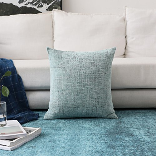 (HOME BRILLIANT Large Throw Pillow Covers Chenille Velvet Decorative Cushion Cover for Patio, 66x66cm (26inch), Teal)