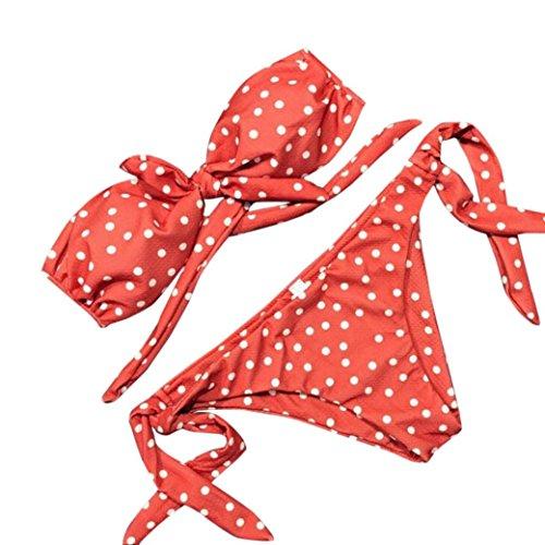 Two Piece Bikini Set,WM & MW Sexy Women Bikini Tie Front Polka Dot Push-Up Tube Bathing Swimsuit Swimwear Beachwear (Small, Orange)