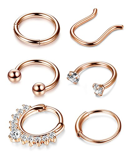 Thunaraz 4-6Pcs 316L Stainless Steel Septum Piercing Nose Rings Hoop Cartilage Tragus Retainer Body Piercing Jewelry 8MM 16G (A: 6Pcs Rose Gold Tone) by Thunaraz (Image #4)