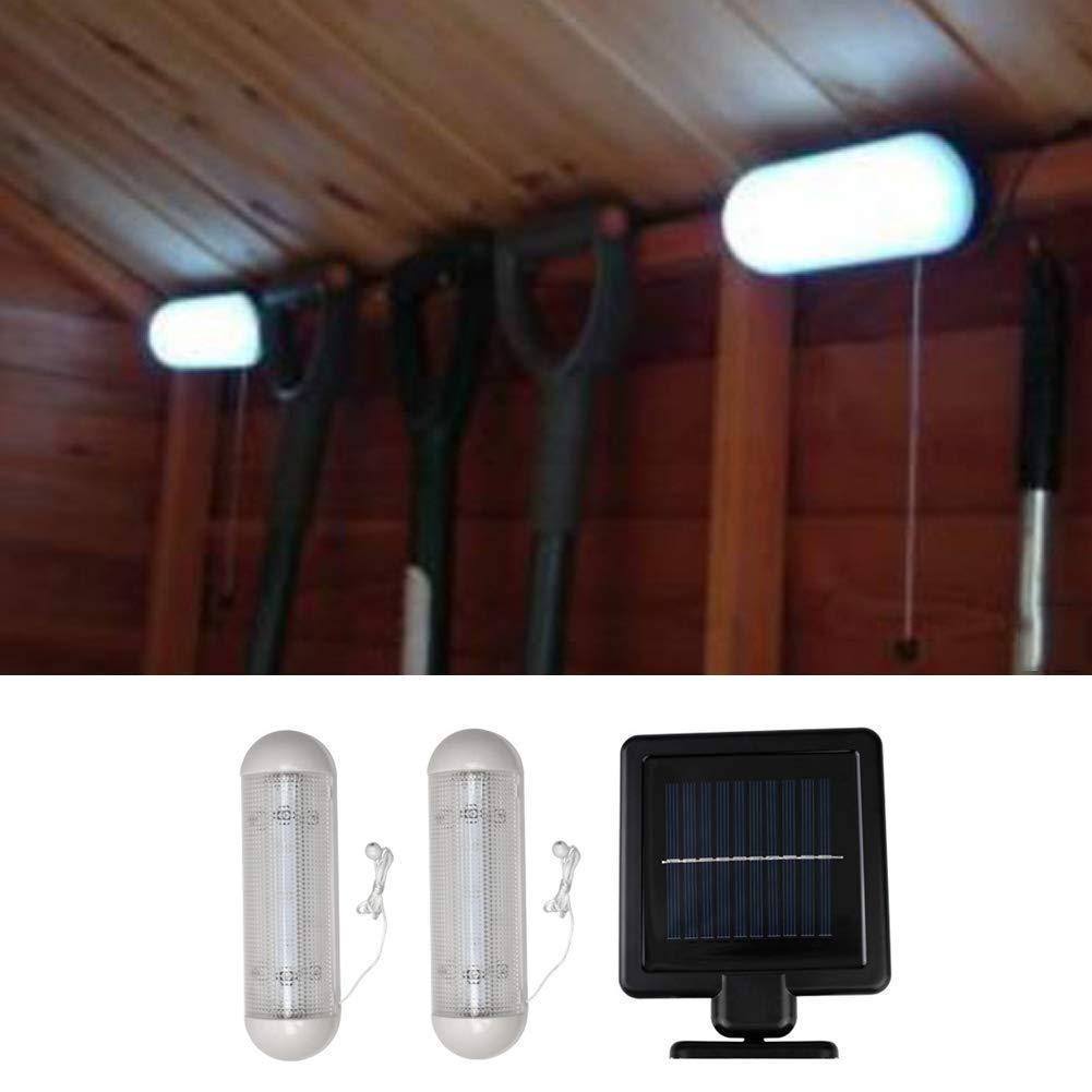 exterior seguridad invernadero luz solar de pared recargable luz de trabajo para jard/ín Luz solar LED para cobertizo funciona con energ/ía solar trabajo cobertizo para garaje