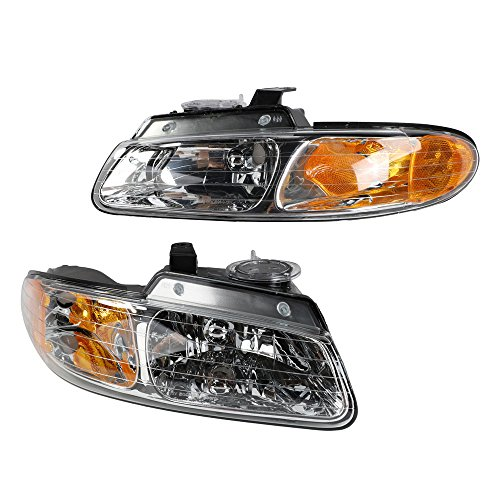 (2PC Driver & Passenger Headlights Headlamps Set Replacement for Dodge 1996 1997 1998 1999 Caravan / Grand Caravan | Plymouth 96-99 Grand Voyager / Voyager | 96-97 Chrysler Town &)