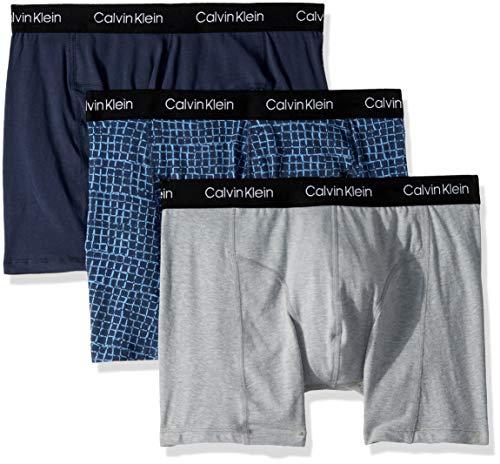 Calvin Klein Men's Elements 3 Pack Boxer Briefs, Mood Indigo/Stamped Checkers Print/Grey Heather, M (Calvin Klein Eternity Summer For Him 2017)