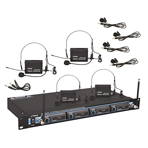 "4 Channel Wireless Microphone System - Professional VHF Audio Mic Set with 1/4"", XLR Jacks - 4 Headset and 4 Clip Lavalier Lapel Mic, 4 Transmitter, Receiver - For Karaoke, PA, DJ - Pyle Pro PDWM4400"