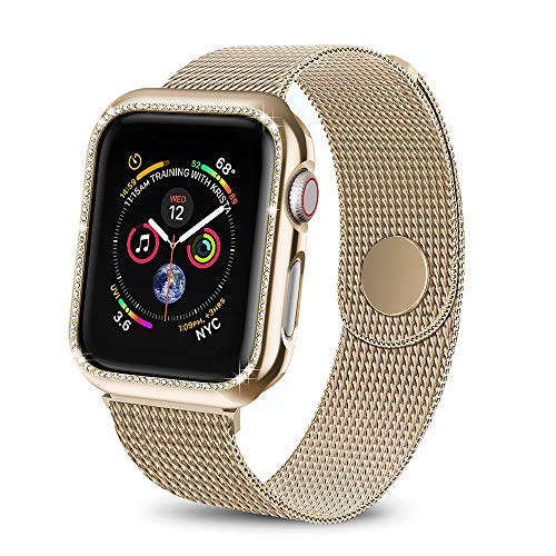 BicasLove Compatible for Apple Watch Band with Screen Protector for 38mm, Bling Crystal Diamonds Protective Case with Milanese Loop for iWatch Series 1/2/3 Gold ()
