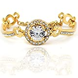 Diamondwize Radiant Moon Gold Round Cut Crystal Halo Bangle Bracelet