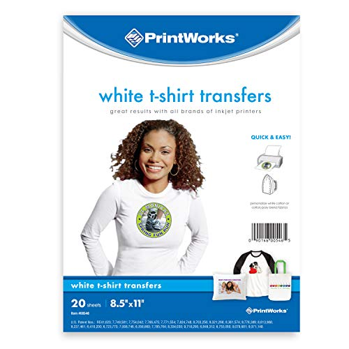 Printworks White T-Shirt Transfers for Inkjet Printers, For Use on White Fabrics Only, Photo Quality Prints, 20 Sheets, 8 ½