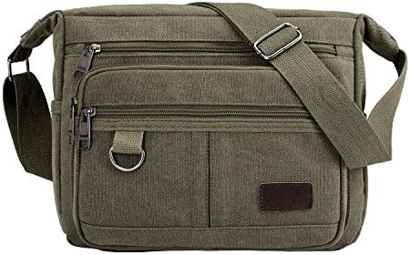 Multifunctional Vintage Canvas Crossbody Bag for Men, Army Green, Size 2.5