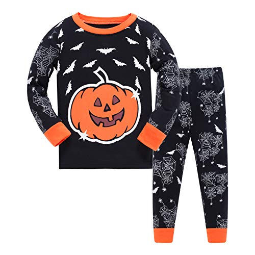 (Pajamas Boys Pumpkin Halloween Costumes 100% Cotton Sets Long Sleeve Kids Pjs)