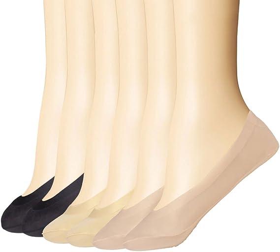 Everbellus 6 Paia di Donna Calzini Invisibili Calze Antiscivolo in Silicone