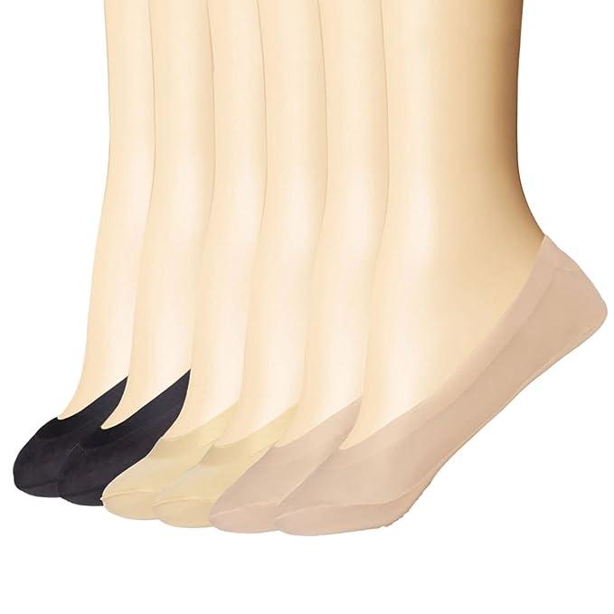 6 Pares Calcetines Invisibles Mujer Silicona Antideslizante (Beige & Negro & Marrón, Talla única