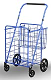 Uniware 1210-BL Shopping Cart with Back Basket, 23.5'' x 25.5'' x 42'', Large, Blue
