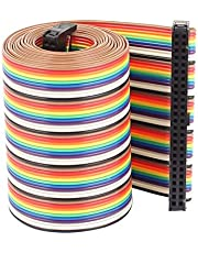 uxcell Rainbow IDC Flat Ribbon Cable Connector, F/F, 50P, 50 Way, 1.28 M, 4.2', 2.54 mm Pitch