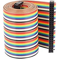 Uxcell a16031600ux0787 Rainbow IDC Flat Ribbon Cable Connector, F/F, 50P, 50 Way, 1.28 m, 4.2, 2.54 mm Pitch