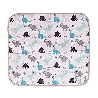 SPLASHPAD Baby Changing Pad Absorbent Nonslip Waterproof Portable Changing Mat Small for Diaper Bag, 16 x 18, Dinosaur