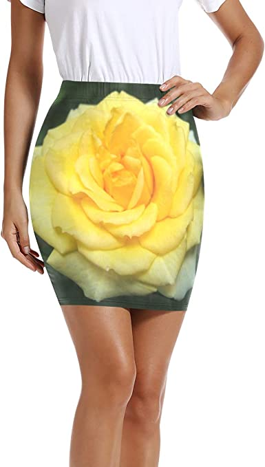 Ladies Womens Rose Floral Printed Stretchy Bodycon Skinny Bandage Fitted Skirt