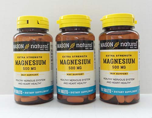 Mason Natural Magnesium - Mason Natural Magnesium 500 mg Extra Strength - 100 Tablets, Pack of 3