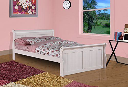 DONCO Kids 325-FW Sleigh Bed, Full, White (Captain Bed Full Youth)