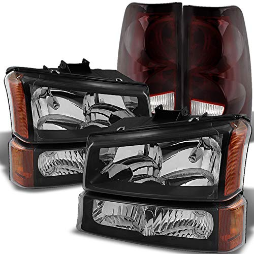Xtune for 2003-2006 Chevy Silverado Black Headlights Bumper Set + Red Smoked Tail Lights Combo 2004 2005
